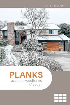 In honor of the #snowpocalypse, here's one of our favorite snow day installs! What do you think of the unique window design on this Planks garage door from our Contemporary Collection? Accents Woodtones by C.H.I. Overhead Doors are the most realistic faux wood garage doors in the industry. Order your free color samples today! Shown: Planks in Cedar with optional black window trim. // via @jifa_arch on Instagram Faux Wood Garage Door, Garage Door Windows, Windows And Doors, Contemporary Garage Doors, Modern Garage Doors, Black Window Trims, Types Of Insulation, Window Types, Exterior Remodel