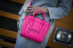 We have a serious crush on this little pink Céline bag // Street Style Accessories at New York Fashion Week Fall 2014 #NYFW