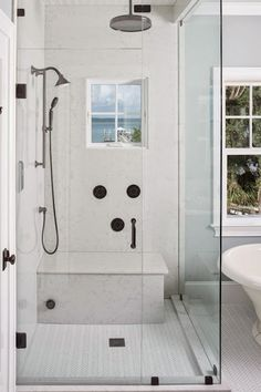 Herringbone Shower Floor - Transitional - bathroom - Reu Architects