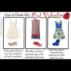 Cat Valentine Inspired.  Outfit #1 Dress- topshop.com   Shoes- bankfashion.co.uk   Bracelet- tiffany.com   Outfit #2 Top- glamorousuk.com Tank- buckle.com   Shorts- stylebop.com   Shoes- dsw.com  Outfit #3 Skirt- riverisland.com   Top- debenhams.com   Necklace- etsy.com   Shoes- lipsy.co.uk