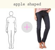 how to find the perfect jeans for your shape. This site has jean styles for all body types. Hope these tips will help me find the right jeans. Apple Shape Outfits, Apple Shape Fashion, Cute Fashion, Fashion Models, Womens Fashion, Fashion Tips, Apple Body Shapes, For Elise, Mode Plus