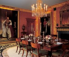 John Singer Sargent's portrait of the sixth marquess of Londonderry dominates Carolyne Roehm dining room. American Empire table and Regency Klismos chairs. Vincent Fourcade Interior Design, New York
