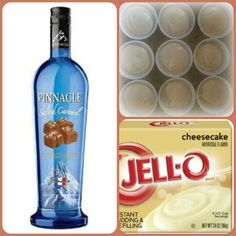 Salted Caramel Cheesecake Pudding Shots 1 small Pkg. Cheesecake instant pudding ¾ Cup Milk 3/4 Cup Pinnacle Salted Caramel Vodka 8oz tub Cool Whip Directions 1. Whisk together the milk, liquor, and instant pudding mix in a bowl until combined. 2. Add cool whip a little at a time with whisk. 3.Spoon the pudding mixture into shot glasses, disposable shot cups or 1 or 2 ounce cups with lids. Place in freezer for at least 2 hours