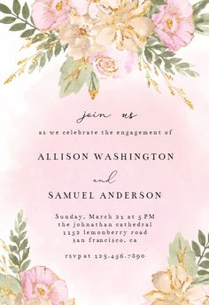 Shabby Chic Flowers - Engagement Party Invitation #invitations #printable #diy #template #Engagement #party #wedding Free Birthday Invitations, Anniversary Invitations, Engagement Party Invitations, Shabby Chic Birthday, Shabby Chic Flowers, 30th Birthday Parties, Birthday Ideas, Quinceanera Invitations, Wedding Logos
