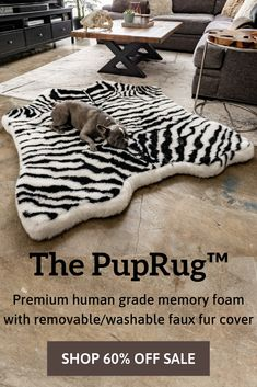 Introducing the PupRug Faux Animal Print memory foam dog bed. The world's first memory foam dog bed artfully crafted with a faux fur animal print cover to bring a rich natural touch to your home decor. Walking Training, Training Your Dog, Training Collar, Agility Training, Potty Training, Diy Pet, Dog Rooms, My New Room, Dog Life