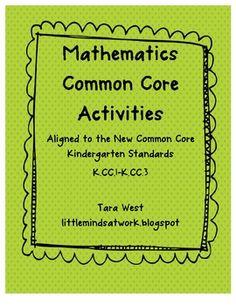 Common Core activities: for Kindergarten.  This product included activities for standards K.CC.1-K.CC.3.    www.littlemindsatwork.blogspot.com