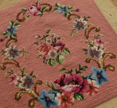 19-034-Completed-Pink-Needlepoint-Canvas-Rose-Morning-Glory-Floral-Bouquet-Garland