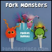 Monster Craft - Monster Pocket Buddy Craft made with Forks from www.daniellesplace.com