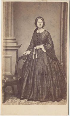 NICE 1860s CDV Photo Gorgeous Lady Standing Magnificent Hoop Dress Fitchburg   eBay