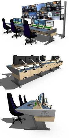 Module-R - Control room furniture, technical furniture, broadcast furniture, air traffic control furniture, height adjustable desk from Custom Consoles Studio Furniture, Steel Furniture, Home Office Furniture, Computer Workstation, Computer Setup, Security Room, Cyber Warfare, Small Office Design, Custom Consoles