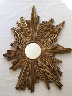 Vintage French Asymmetrical Soleil (Sunburst) Mirror