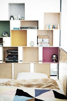 colorful shelves