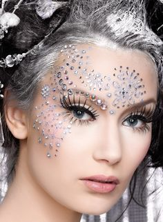 Artistically placed crystals and fashion lashes enhance this 'ice queen' inspired look.