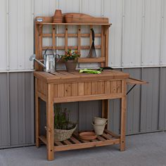 The Potting Bench presents new and useful features and benefits for gardening. The stylish design is a great way to liven up any yard.