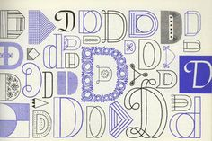 """Embroidery Typography. A-Z. Showing the Letter """"D"""". Found at Imprint site.. Embroidery type design from the book, A Handbook of Lettering for Stitchers by Elsie Svennas. Download a PDF at Public Collectors. If you embroider, this book is fascinating. #letters #embroidery"""