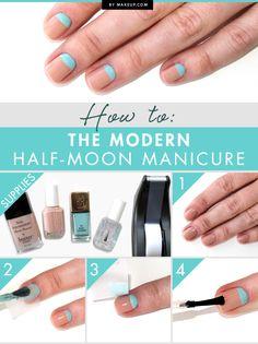 modern half-moon manicure
