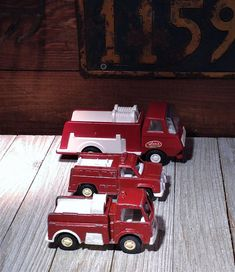Tonka & Tootsie Toy Trucks, 3 Fire Trucks, Tiny Tonka Pumper 595, Tootsie Toy Fire Truck and Bio Equip Chem Truck, Metal Fire Engine Toys