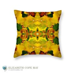 Foliage throw pillow. From the spring garden comes an intricate, fresh leaf collage to accent any décor. More pillows at: ElizabethCopeMay.com