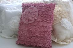 Pretty in Pink Ruffles And Rosette Pillow by shabbychatue on Etsy, $25.00
