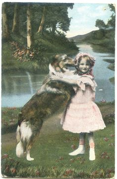 Vintage Tinted Postcard - A Girl and her dog.