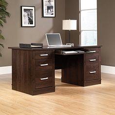 cool Sauder Office Port Executive Desk in Dark Alder
