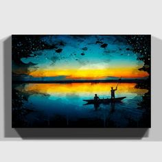 'Landscape Evening Sunset Boat Graphic Art on Wrapped Canvas East Urban Home Soft Pastel Art, Pastel Drawing, Soft Pastels, Pastel Colours, Acrylic Paintings, Painting Prints, Multiple Canvas Paintings, Oil Paintings, Drawing Sunset