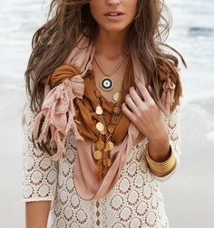 Fall Outfit: White Crochet/Knit Sweater + Blush/Pale Pink Scarf + Tan/Ochre Scarf + Long Gold Coin Necklace + Short Necklace