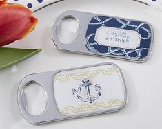 Let your guests remember your special day whenever they pop open a drink with these personalized nautical themed bottle openers.