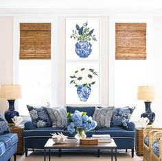 Chinoiserie prints: DIGITAL FILE, Anemone, Privet Berry Poster, chinoiserie art, blue and white chin Coastal Living Rooms, Home Living Room, Living Room Designs, Living Room Decor, Blue Living Rooms, Coastal Bedrooms, Coastal Cottage, Coastal Homes, Coastal Style