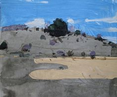 November 24, 3:00 pm., Lost Dog Hill, Original Landscape Collage Painting on Paper