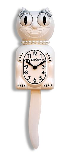 Limited Edition White Lady Kit Cat Clock With Pearl Necklace U0026 Eyelashes.