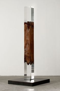 "Vera Röhm [Germany] (b 1943) ~ ""Double Intégration"", 2009. Elm wood, Plexiglas, Steel socket (264 x 24 x 24 cm)."