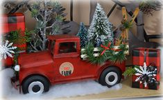 Red Truck with Christmas Tree - Celebrate & Decorate Christmas Swags, Primitive Christmas, Country Christmas, Vintage Christmas, Christmas Holidays, Christmas Crafts, Christmas Ornaments, Primitive Crafts, England Christmas