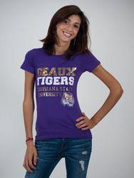 LSU Tigers Womens TShirt Purple Brooklyn