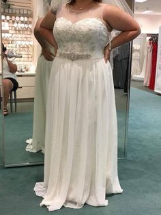 sheer illusion plus size wedding gown options like this can be made to order with any design preferences.  Sleeveless #weddingdresses can be custom made.  We also make #repLicas of couture designs too for brides of all sizes.  So if your dream dress is out of your price range email us pictures to see how much an inspired version will cost.