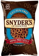 Snyder's of Hanover Gluten Free Mini Pretzels. I saw these last night at the store and grabbed a bag. I can't wait to try them! Glutino's Gluten Free Pretzels are a staple in my snack life and I've loved them for many years now but I must admit, I loved Snyder's before I was diagnosed with Celiac and I've missed them.