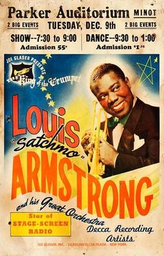 Classic Louis Armstrong Concert Poster (Minot, ND)