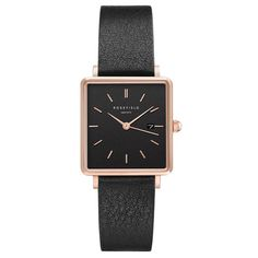 Rosefield Damenuhr The Boxy RosefieldRosefield Black Square, Square Watch, Messing, Minerals, Black Leather, Rose Gold, Watches, Crystals, Accessories