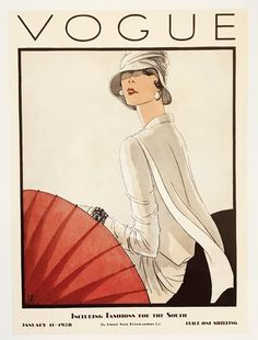 Vintage Vogue Covers (January, 1928) by Porter Woodruff