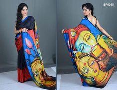 Pin by Vimal on Sarees Saree Painting Designs, Fabric Paint Designs, Hand Painted Sarees, Hand Painted Fabric, Fabric Art, Dress Painting, Silk Painting, Mural Painting, Acrylic Paintings