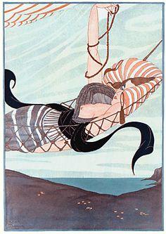 Stylish French risque woman in hammock. 1928 http://www.vintagevenus.com.au/vintage/reprints/info/PM137.htm