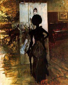 Woman in Black Looking at the Portrait of Signora Emiliana Concha de ossa Giovanni Boldini - circa 1888
