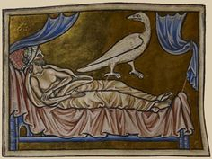 Miniature of an ill man in bed with a caladrius bird watching him, from a 13th century manuscript