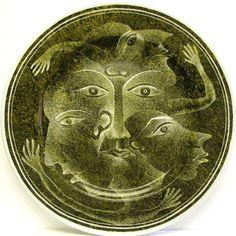 Untitled dish by Dutch artist Pim Leefsma (b.1947). Porcelain. via the artist's site