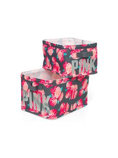 Storage Bins $34.95 Great for organizing in a cute way, store away all your essentials in these bright, colorful storage bins. Only from Victoria's Secret PINK.