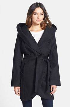 $229, Black Coat: T Tahari Wool Blend Belted Wrap Coat. Sold by Nordstrom. Click for more info: https://lookastic.com/women/shop_items/108655/redirect