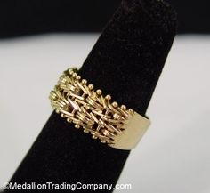 QVC 14k Imperial Gold 7mm Wide Riccio Wheat Ring Mirror Bar Flexible Band Size 6 #ImperialGold #Band Code: 10PERCENT for 10% off at MedallionTradingCompany.com