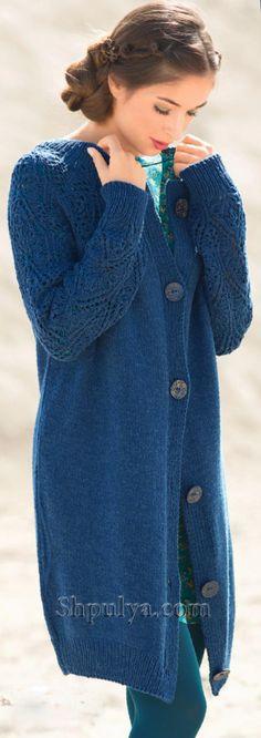 www.SHPULYA.com - Вязаный длинный жакет с ажурными рукавами