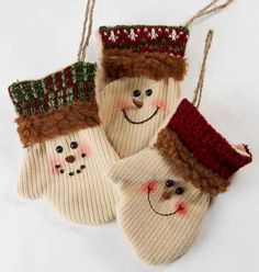 Primitive Country Christmas Tree Decorations | ... Primitive Snowman Mitten Ornaments - Christmas and Holiday - Primitive