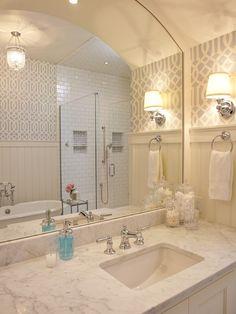 Soft Aqua Imperial Trellis Wallpaper - Transitional - bathroom - Francesca Owings Interior Design